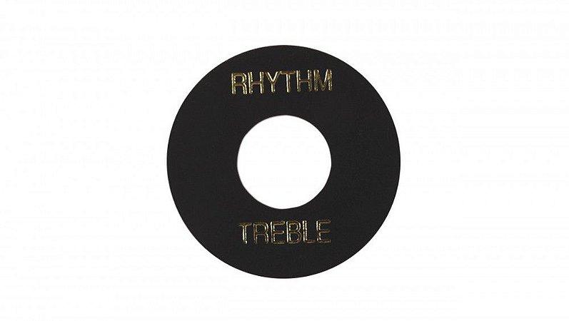 PLACA TREBLE/ RHYTHM GIBSON PRWA 010-PRETA COM PRINT DOURADO