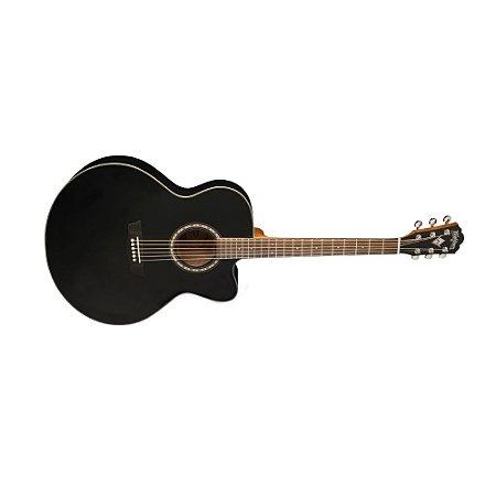 Violao Jumbo Cutway Black Matte modelo WJ7SCEBM - Washburn