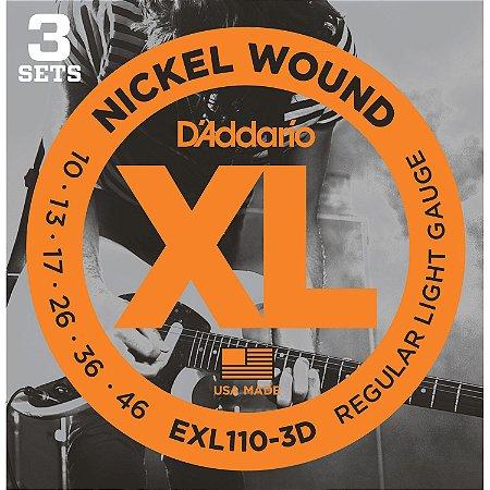 ENCORDOAMENTO GUITARRA DADDARIO 010 - 046 PACK C/ 3 EXL1103D