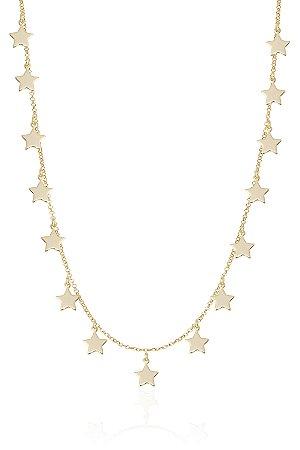 Colar Estrela 40 cm Banho de Ouro Amarelo