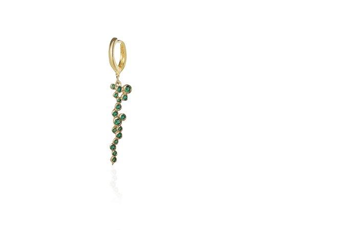 Acessório Alga verde Esmeralda Banho de Ouro Amarelo