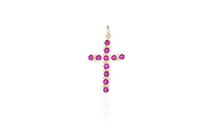 Pingente Crucifixo Pink Banho Ouro Amarelo