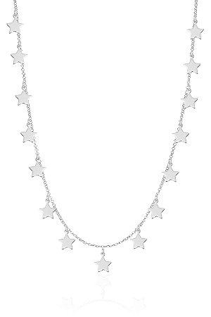 Colar Estrela 40 cm Banho de Ródio