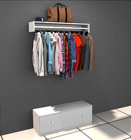 Kit loja - 1 cabideiro araras de 1 metro de comprimento - mais 1 gavetão de 35x100x35