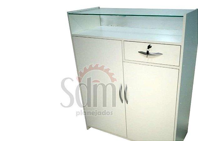 Balcão caixa com vitrine e portas - 110 cm altura - 90 cm  comprimento - 40 profundidade