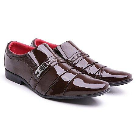 Sapato social  lazer Verniz Capuccino bico fino