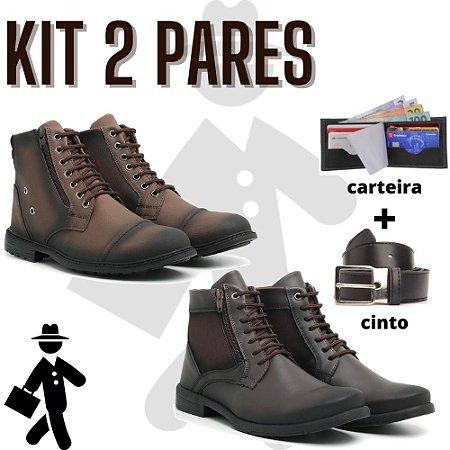 Kit 2 pares de bota masculino + carteira e cinto