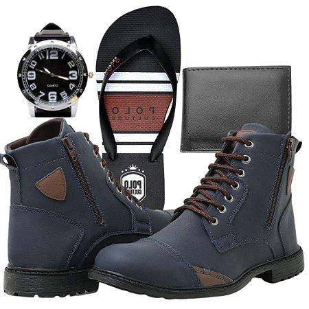 kit bota masculino mais carteira relógio e chinelo