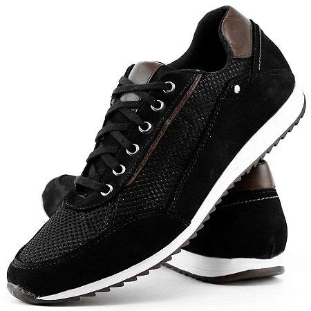 Sapatenis casual masculino confort jogger preto