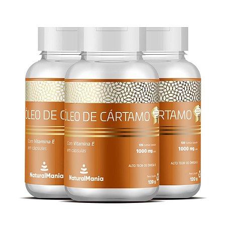 Combo 3 Frascos de Óleo de Cártamo + Vitamina E com 120 cápsulas (cada) - Naturalmania