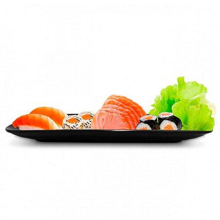Travessa Bandeja Japonesa Sushi Sashimi 26cm Melamina Preto