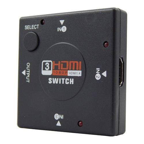 Switch hub hdmi seletor 3 entradas 1 saída sem fonte externa