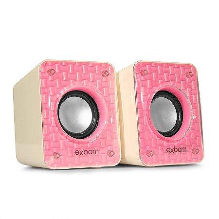 Caixa de som 6w rosa exbom cs-86