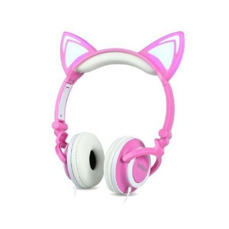 Headphone orelha de gato com led exbom rosa e branco hf-c22rb