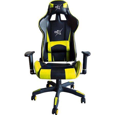 Cadeira Gamer Brx amarela com encosto reclinável