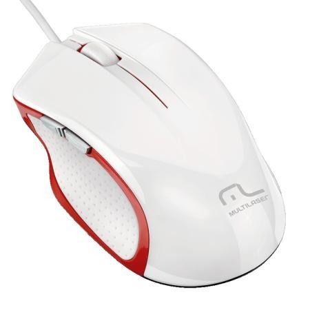 Mouse Gamer Multilaser Laser Branco USB 6 Botões MO-202