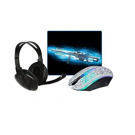 Kit Gamer Mouse Branco Knup V-14 com led, Headset e Mousepad