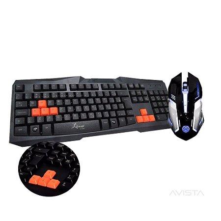 Kit Gamer Mouse T-80 com led, teclado Knup e mousepad