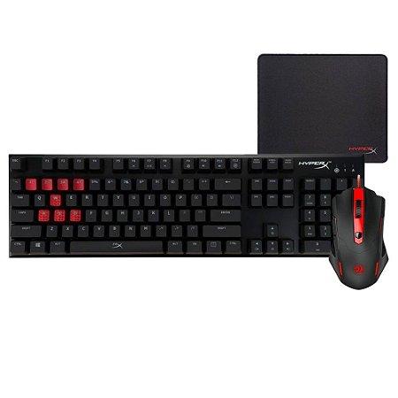 Kit Gamer Mouse Redragon e Teclado Mecânico Cherry MX Blue Mousepad HyperX