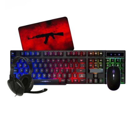 Kit Gamer Headset Mouse Teclado semi-mecânico com Led