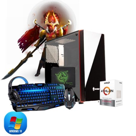 Pc Gamer Megatumi Amd Athlon 200GE, 2x4gb, Hd 500gb e kit gamer