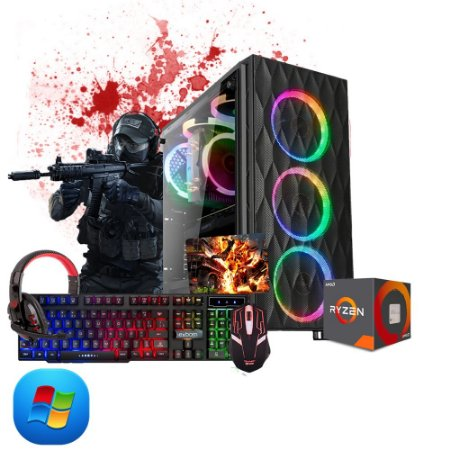 Pc Gamer Amd Ryzen R5 3400G, 2x4gb, Hd 500gb, e kit gamer semi-mecânico