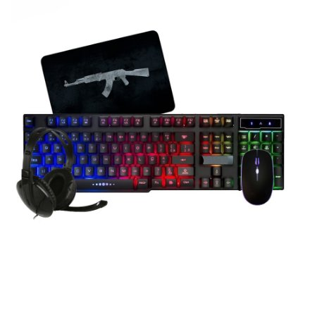 Kit Gamer Mouse Teclado semi-mecânico com Led e mousepad