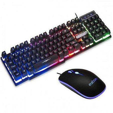 Kit Teclado e Mouse Gamer Com Led
