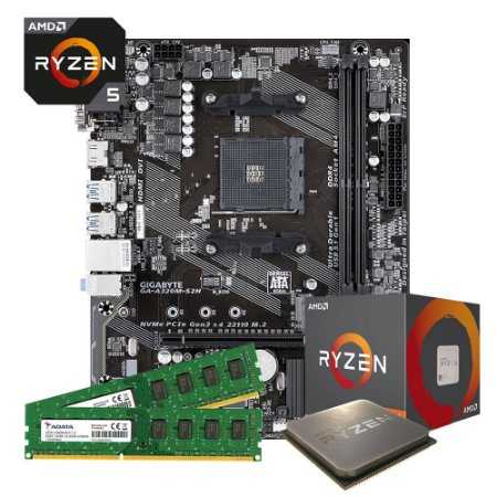 Kit Upgrade Gamer Megatumi Amd Ryzen R5 3400G Placa mãe A320m 2x4gb
