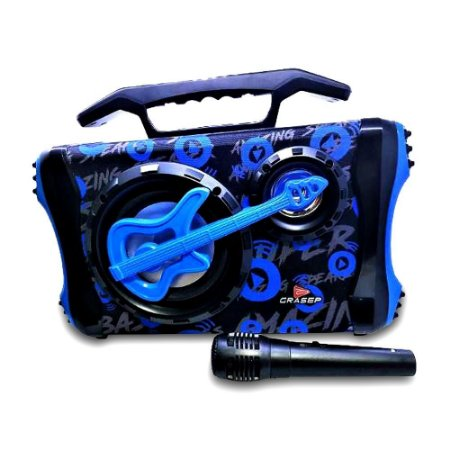 Caixa de som Radiodifusão Grasep + Microfone - Azul D-D02AZ