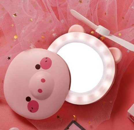 Mini Espelho Led com Ventilador para Maquiagem Portátil USB