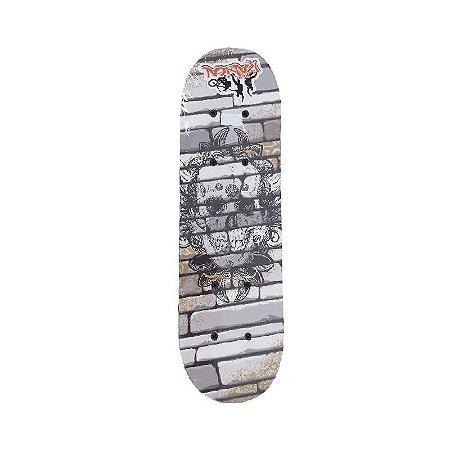 Skate Caveira para Iniciante Completo Madeira 80 cm - Cinza