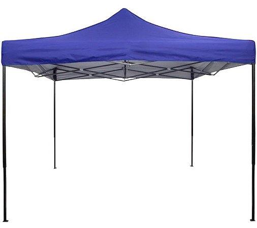 Tenda Gazebo 3x3 Sanfonado Em Aço Com Nylon Revestido Azul