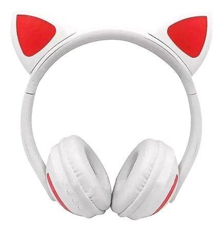 Fone de Ouvido Bluetooth de Gatinho - Branco