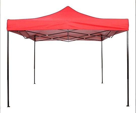 Tenda Gazebo 3x3 Sanfonado Em Aço Com Nylon Revestido Vermelha