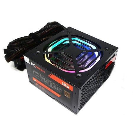 Fonte Gamer RGB Ktrok 500w Real Pfc Ativo 80 Plus Bronze