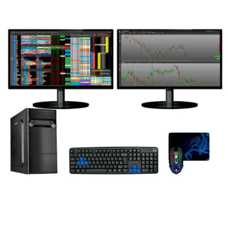 Combo Megatumii Day Trade Completo I3 8gb SSD120gb 2 telas