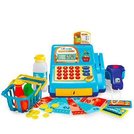 Caixa Registradora Infantil Moeda Cartão Dinheiro - Azul