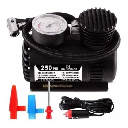 Compressor De Ar Automotivo Portátil 12v 250 Psi Pneu Bike