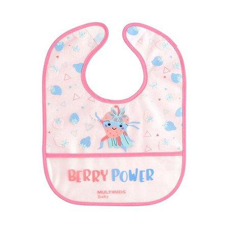 Babador Rosa Yum! com bolso coletor de migalhas Multikids Baby