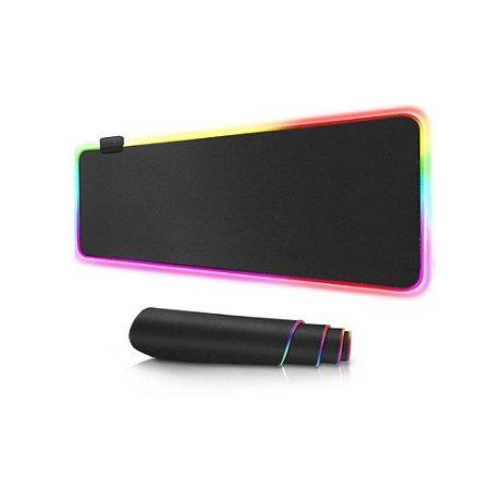 Mousepad Gamer Grande Com Led RGB 7 cores 80x30cm - Exbom