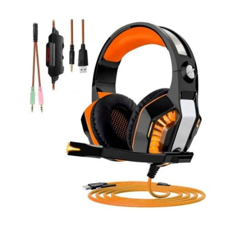 Headset Gamer com Led Laranja - MultiPlataform - PS4/XBOX/PC