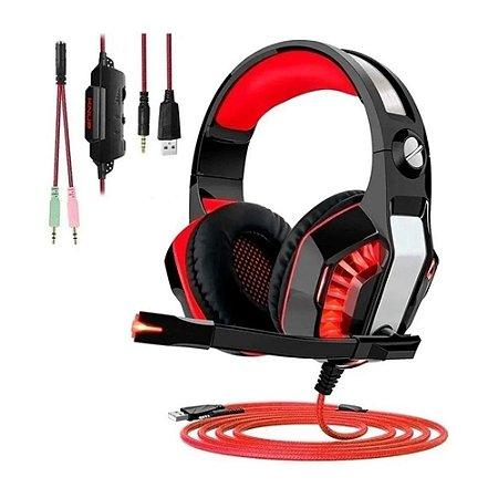Headset Gamer com Led Vermelho - MultiPlataform- PS4/XBOX/PC