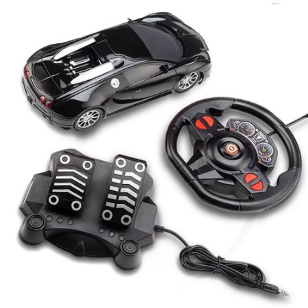 Carro Racing Control Midnight Preto  - Volante e Pedal