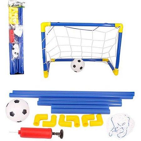 Kit Futebol Com Bola Trave De Gol E Bomba +8 anos