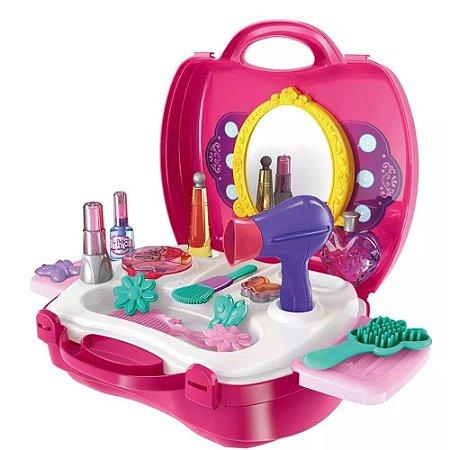 Maleta Salão de Beleza Cabeleireira Infantil Com Acessórios