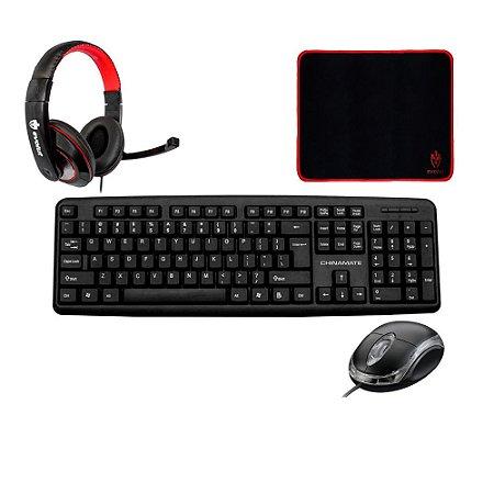 Kit Teclado Mouse Headset e Mousepad Corporativo Home Office