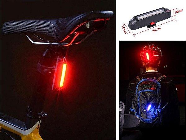 Farol de bicicleta Recarregável USB Luz Traseira Led À Prova D' Água