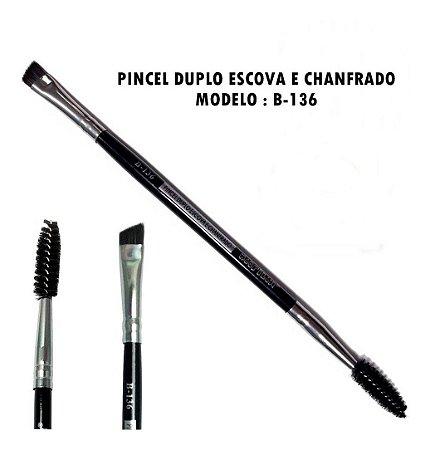Pincel para Sobrancelha Duplo Escova e Chanfrado B136 - Macrilan