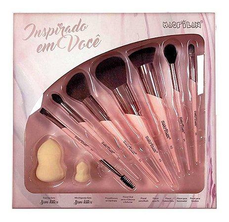 Kit Pincéis de Maquiagem Inspirado em Você ED200 9Pçs - Macrilan